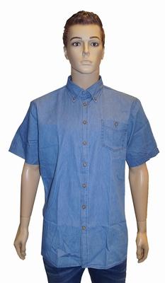 "Jeans blouse met korte mouwen  ""  GCM "" Licht blauw"