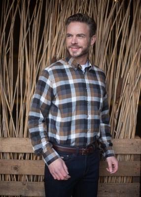 """Fleece blouse met lange mouwen  """" Henderson """" bruin / zwart"""