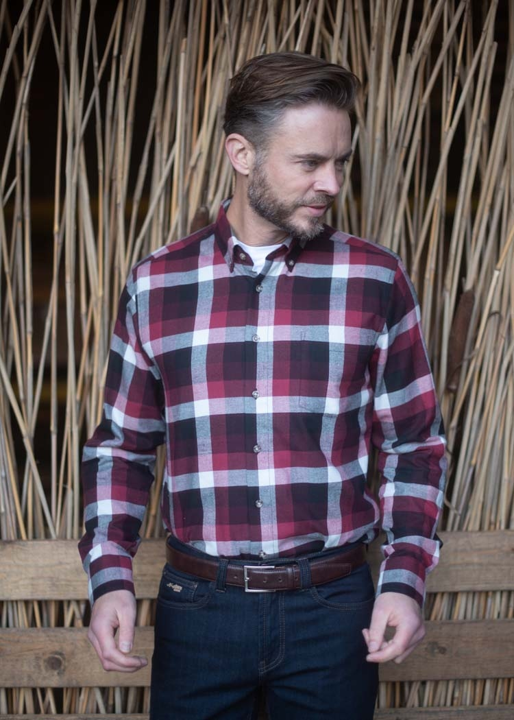 "Fleece blouse met lange mouwen  "" Henderson ""  rood / zwart"