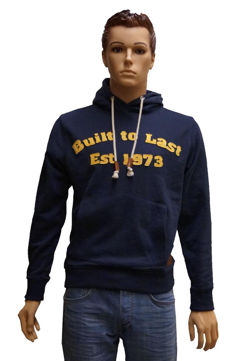 """Hoodie sweater  """" Built to last est 1973 """"  Blauw"""