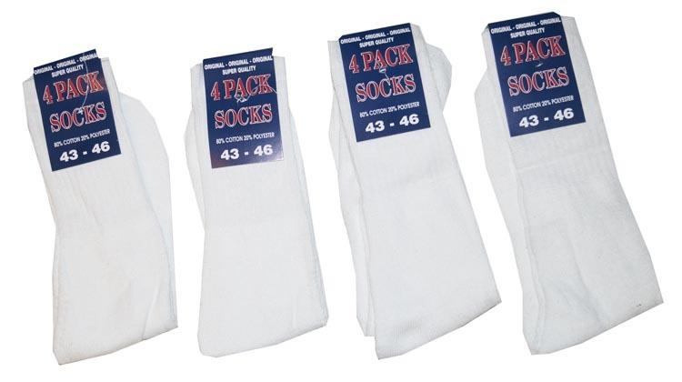 """Sport sokken  """"  Wit """"   4 paar"""