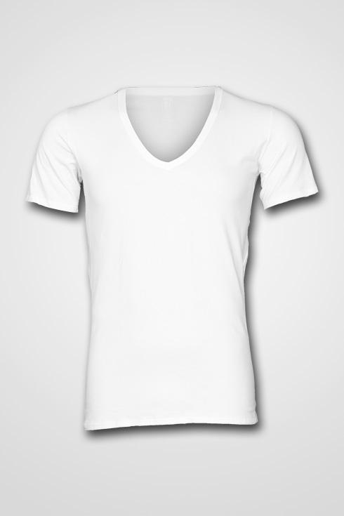 """V-hals T-shirt met korte mouwen  """"  Wit """"   2 stuks"""
